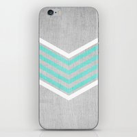 silver iPhone & iPod Skins featuring Teal and White Chevron on Silver Grey Wood by Tangerine-Tane
