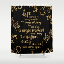 An Ember In The Ashes Quote Design in Gold Foil Shower Curtain