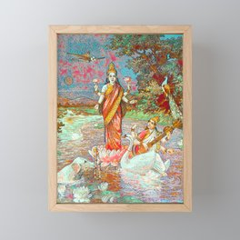 Lakshmi & Saraswati with an airplane passing by (version in Blue Green) Framed Mini Art Print