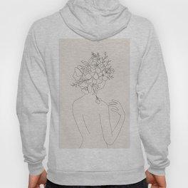 Woman with Flowers Minimal Line II Hoody