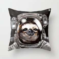 Astronaut Sloth Selfie Throw Pillow