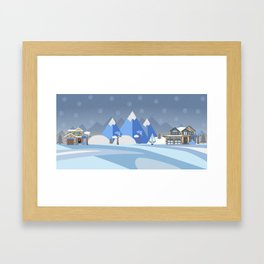 Winter Snowy Landscape with houses, trees and mountains. Suburban Buildings in Winter Landscape Framed Art Print
