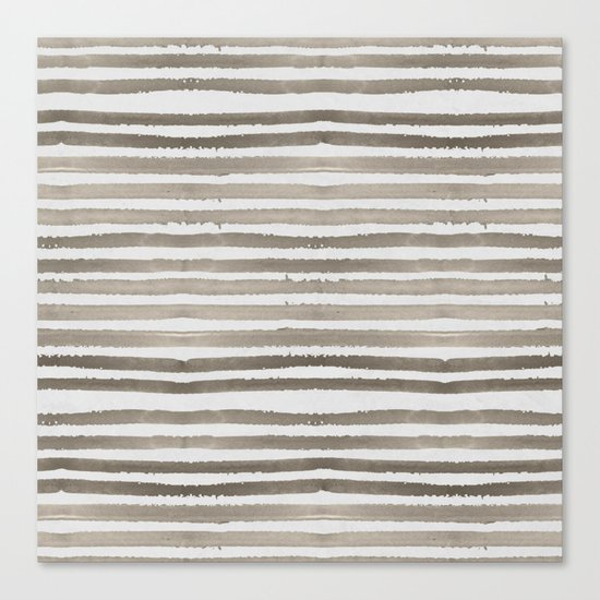 Simply Shibori Stripes Earth Brown on Lunar Gray Canvas Print