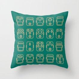 Effects pedals 5x4 blue green Throw Pillow