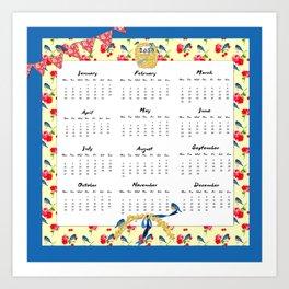 Bluebirds, Blossoms and Bunting 2015 Calendar Art Print