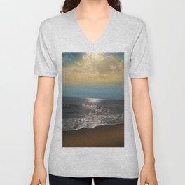 Golden Sky Over The Ocean Unisex V-Neck