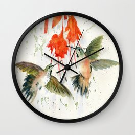 Hummingbird Watercolor Wall Clock