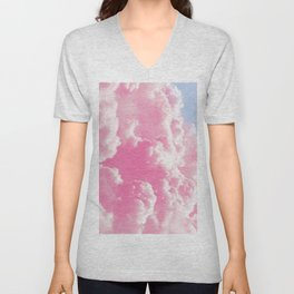 Retro cotton candy clouds Unisex V-Neck