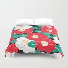 Japanese Style Camellia - Red and Black Duvet Cover