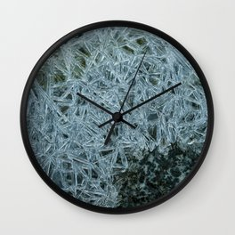 Ice pattern, frost decorating little stream of water Wall Clock