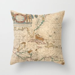 Vintage Map of The Caribbean (1672) Throw Pillow