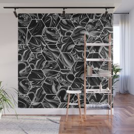 Hex & Swirl - Black and White Marble Pattern Wall Mural