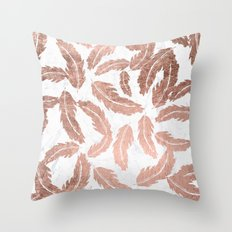 Modern rose gold handdrawn feathers pattern white marble Throw Pillow