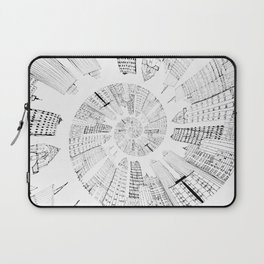 black and white city spiral digital painting Laptop Sleeve