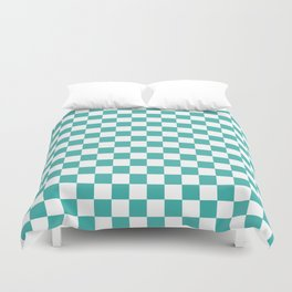 Small Checkered - White and Verdigris Duvet Cover