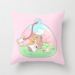 Bubu the Guinea pig, Cherry Blossom Terrarium Throw Pillow