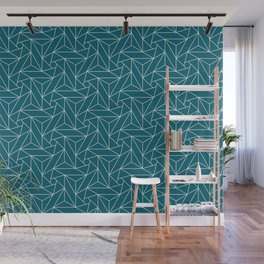 Off White Abstract Triangle Geometric Mosaic Shape Pattern on Tropical Dark Teal Inspired by Sherwin Williams 2020 Trending Color Oceanside SW6496 Wall Mural
