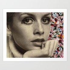 twiggy flower collage Art Print