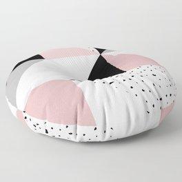 Geometrical pink black gray watercolor polka dots color block Floor Pillow
