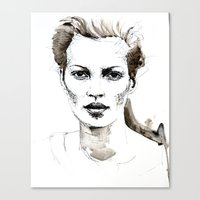 kate moss Canvas Prints featuring Kate Moss by Anastasia Efthias
