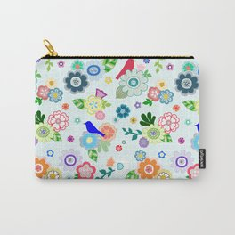 Whimsical Spring Flowers in Light Blue Carry-All Pouch
