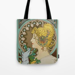 """Alphonse Mucha """"Feather"""" Tote Bag"""