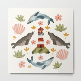 Lighthouses, Seals, and Whales Metal Print