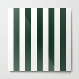 Phthalo green - solid color - white vertical lines pattern Metal Print