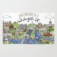 washington Area & Throw Rugs featuring Washington DC by Brooke Weeber