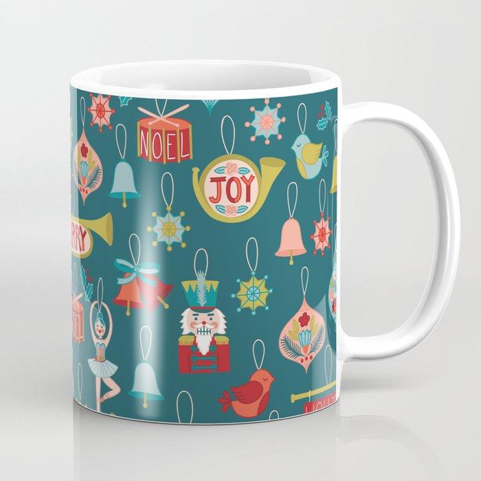 Coffee Christmas Ornament.Teal Christmas Ornament Pattern Coffee Mug