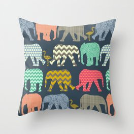 baby elephants and flamingos Throw Pillow