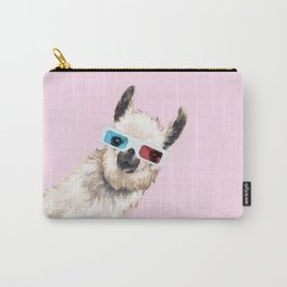 Sneaky Llama with 3D Glasses in Pink Carry-All Pouch