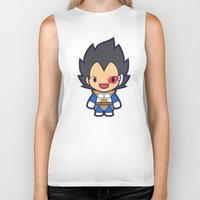 vegeta Biker Tanks featuring FunSized Vegeta by Papyroo