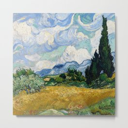 Wheat Field with Cypresses - Vincent van Gogh Metal Print