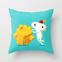 fez Throw Pillows featuring The Prince with a FEZ by MeleeNinja
