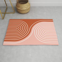 Geometric Lines in Terracotta Rose Gold 19 (Rainbow and Lines Abstraction) Rug