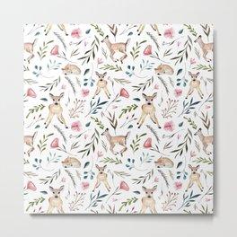 Deer and Leaves Pattern Metal Print
