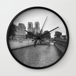 Notre Dame and the Seine River, Black and White Wall Clock