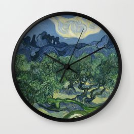Vincent van Gogh - Olive Trees in a Mountainous Landscape Wall Clock