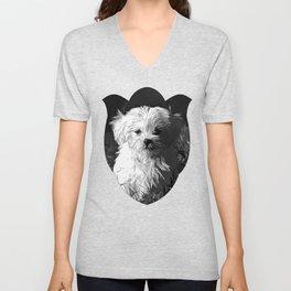 maltese dog vector art black white Unisex V-Neck