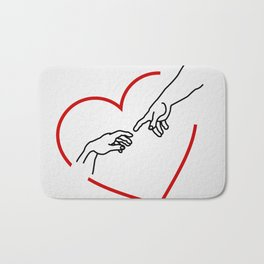 he creation of Adam- The hands of God and Adam within a red heart Bath Mat