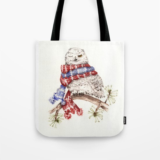 Winking Arctic Owl in Scarf Tote Bag