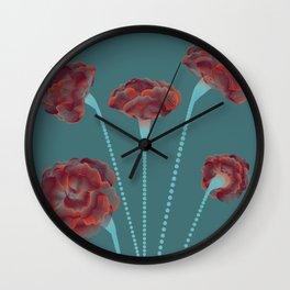 Line Carnations 1d Wall Clock