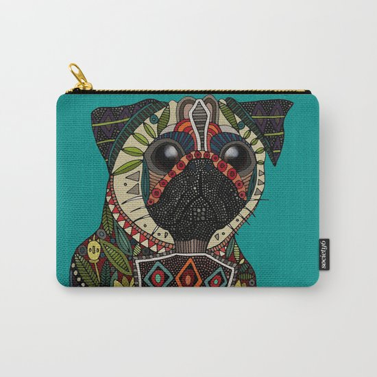 pug love teal Carry-All Pouch