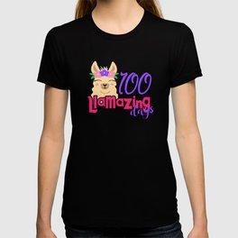 One Hundred Days of School Llama 100 Llamazing Days T-shirt