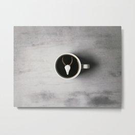 Antler and Coffee Metal Print