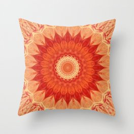 Mandala orange red Throw Pillow