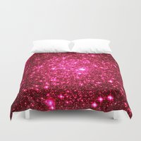glitter Duvet Covers featuring Hot Pink Glitter Stars by 2sweet4words Designs