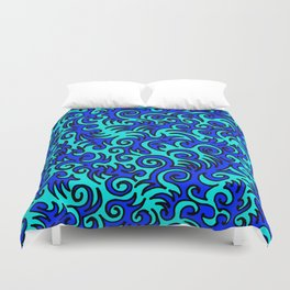 Blue Sqwiggle Duvet Cover