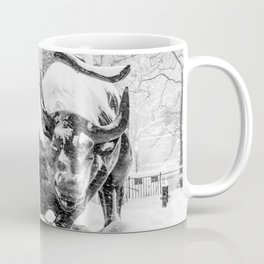 The Charging Bull, In the snow. Coffee Mug